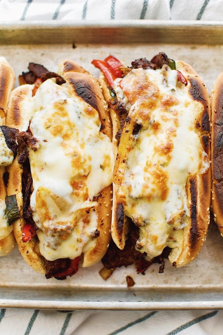 Joanna Gaines recipe for Philly Cheesesteaks from the Magnolia Table Cookbook Vol. 2.
