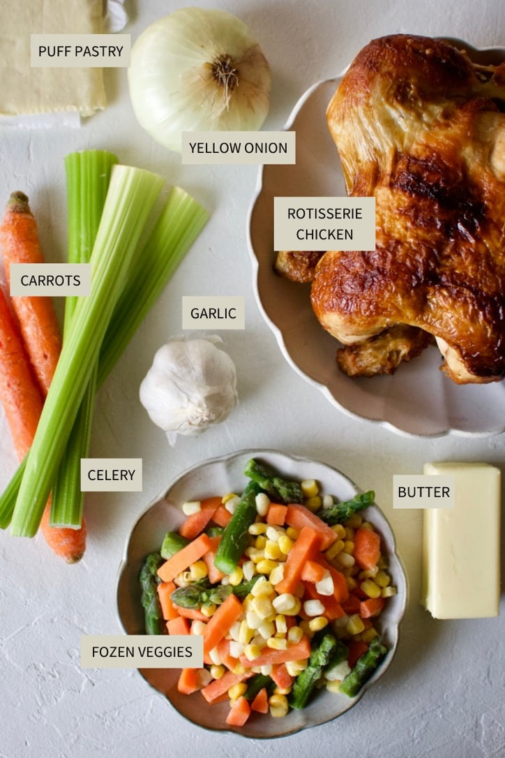 Ingredients needed to make Individual Chicken Pot Pies with Puff Pastry.