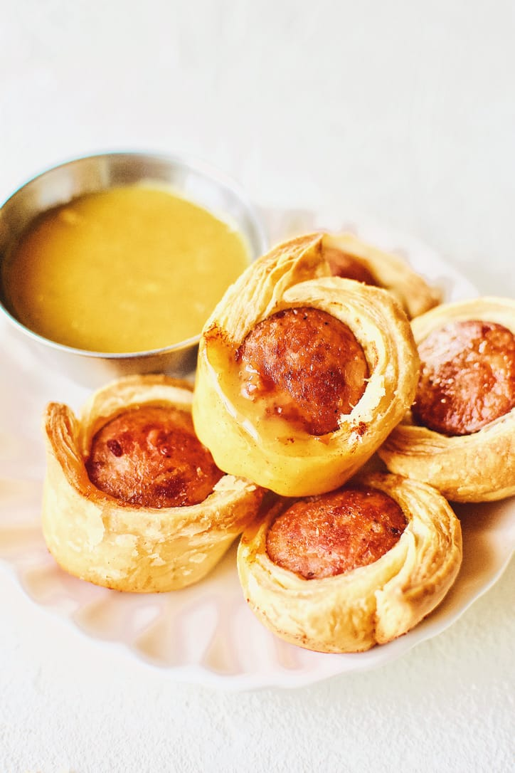 Sausage Rolls wrapped in Puff Pastry with a Honey Mustard DIpping Sauce