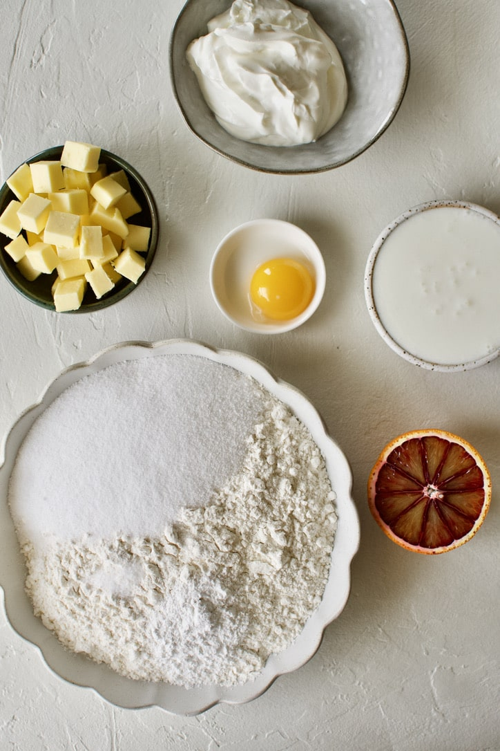 Ingredients needed to make Blood Orange Scones