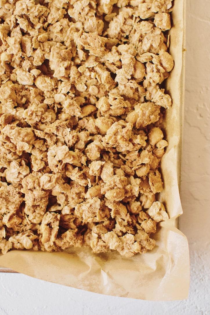 Crunchy Peanut Butter Granola crumbled after baking