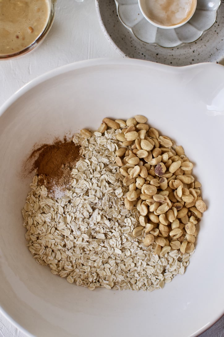 Dry ingredients for making Crunchy Peanut Butter Granola