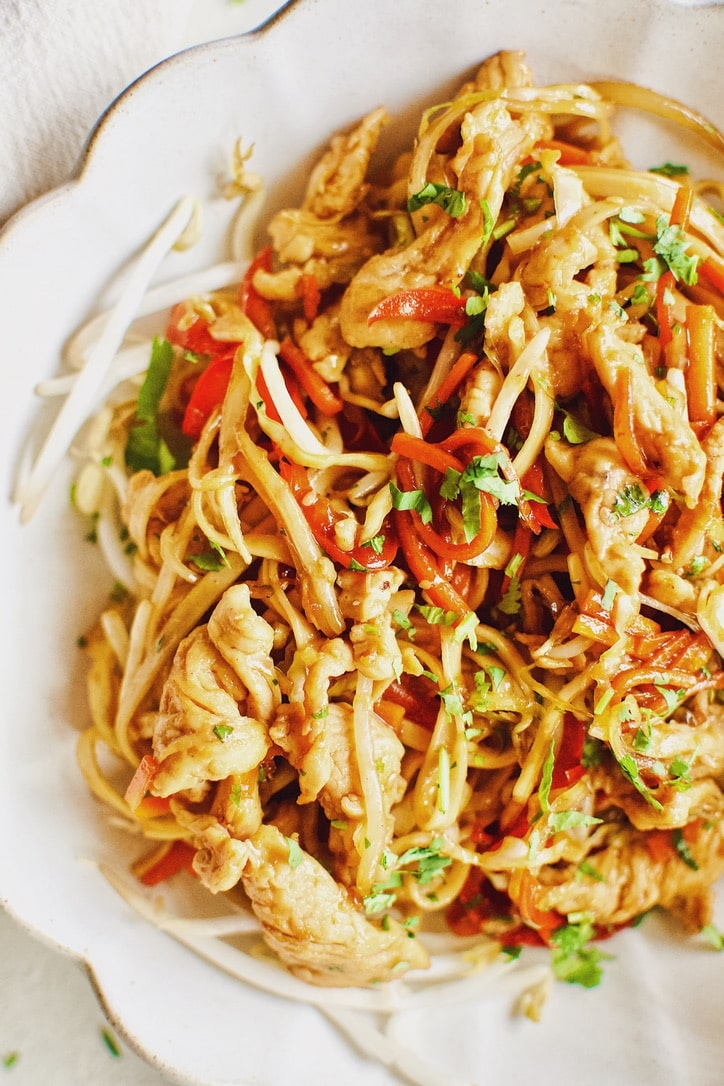 Easy Homemade Lo Mein Chicken Take-out at Home.
