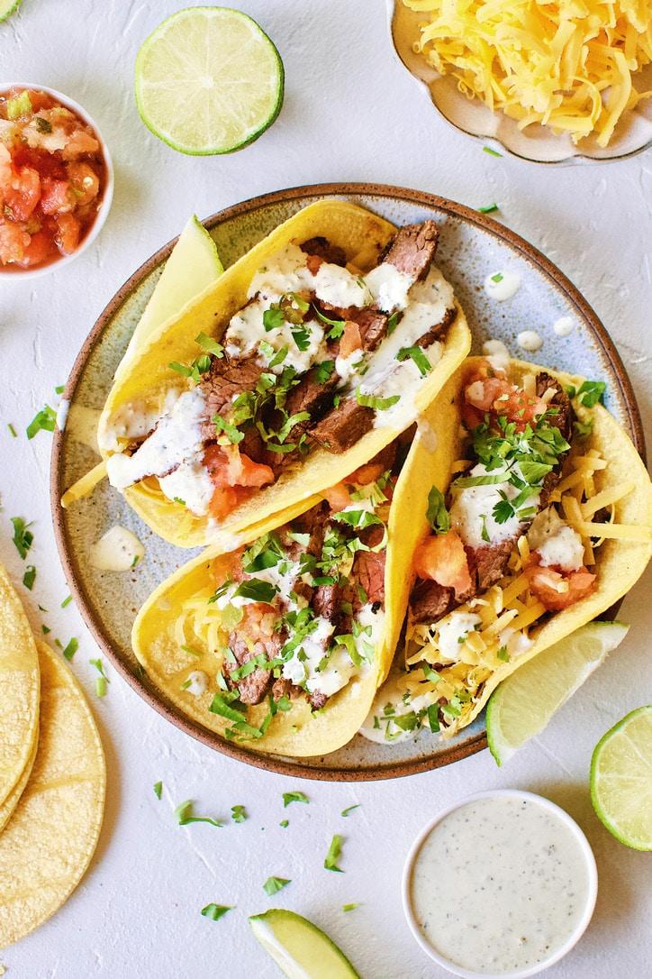 Carne Asada Fajita Steak Tacos.