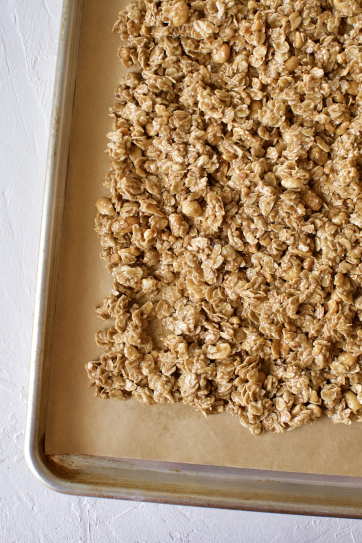 Crunchy Peanut Butter Granola fresh from the oven
