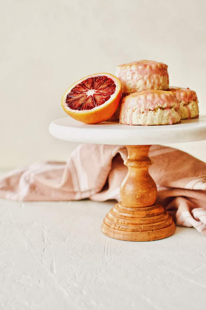 English Scones dipped in a Blood Orange Glaze