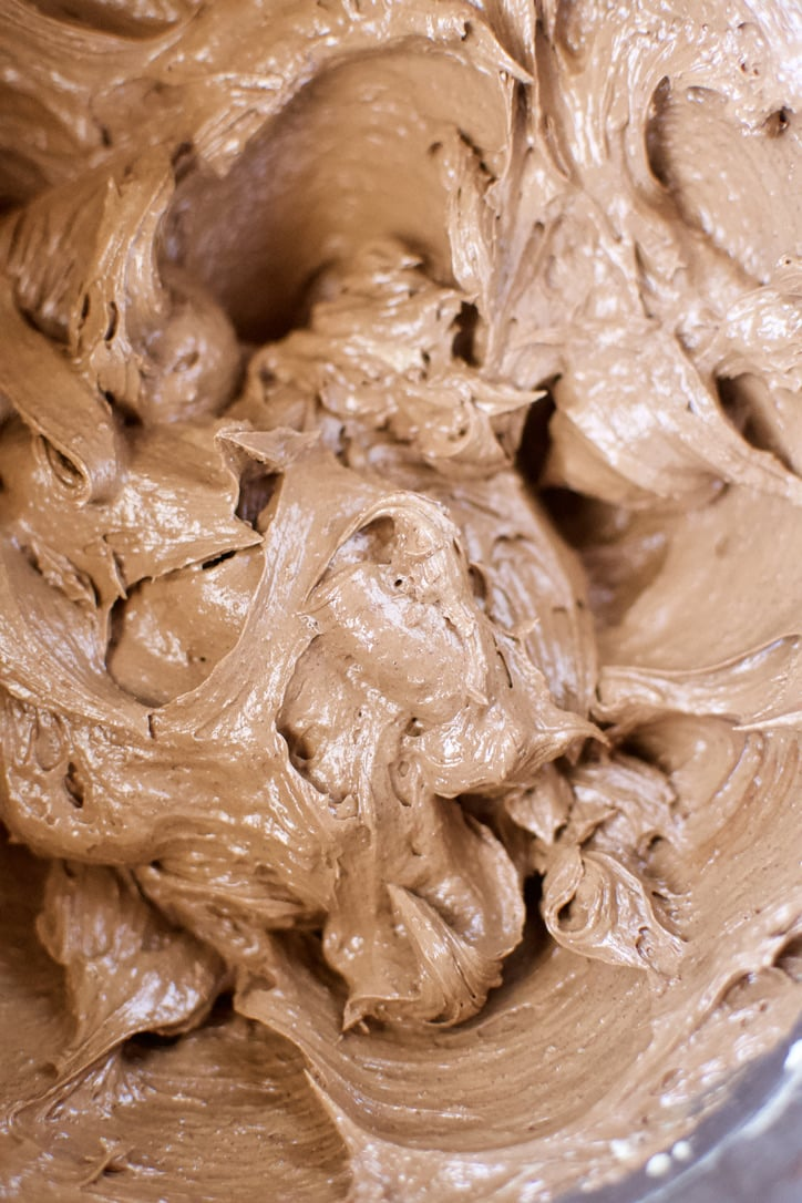Vanilla and chocolate added to the cake batter and creamed together.