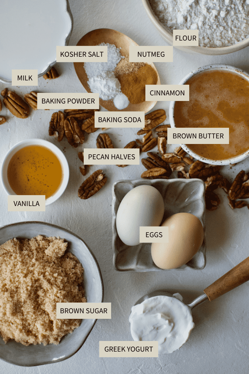 Ingredients needed to make Brown Butter Cake with Irish Whiskey Cream Sauce