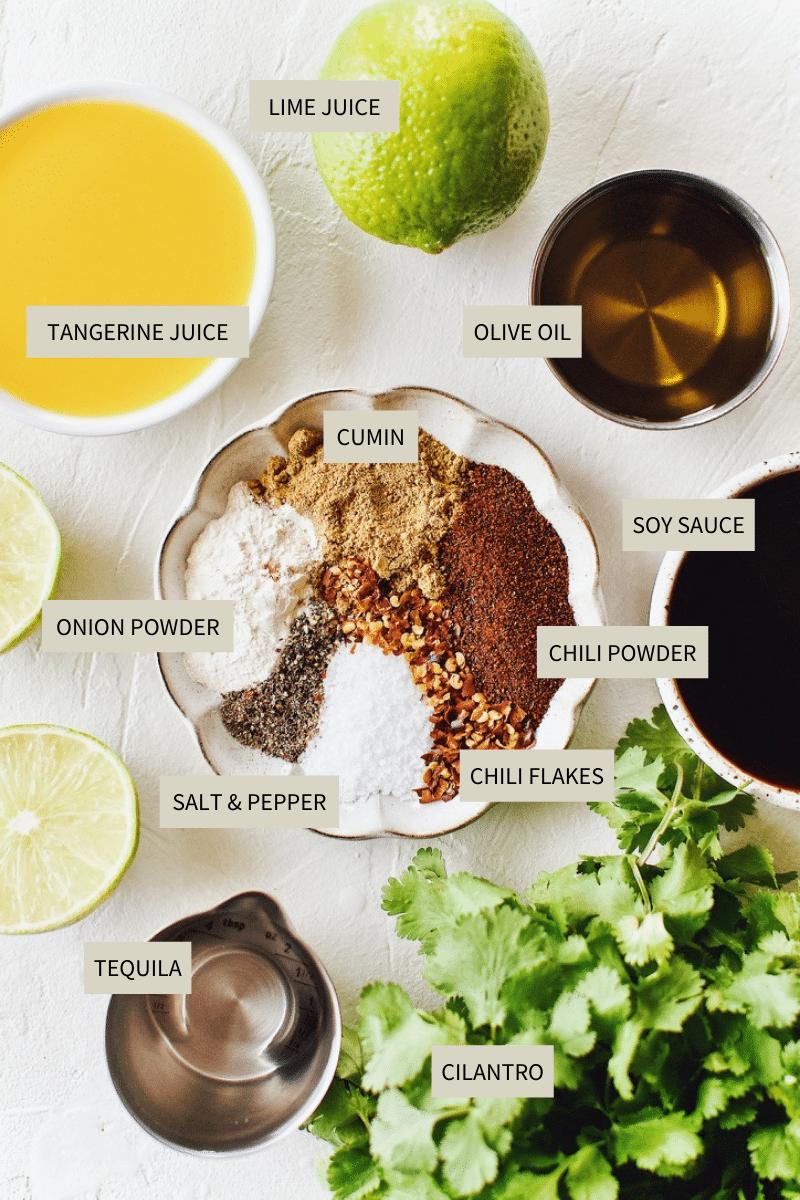 Ingredients needed to make Carne Asada Marinade