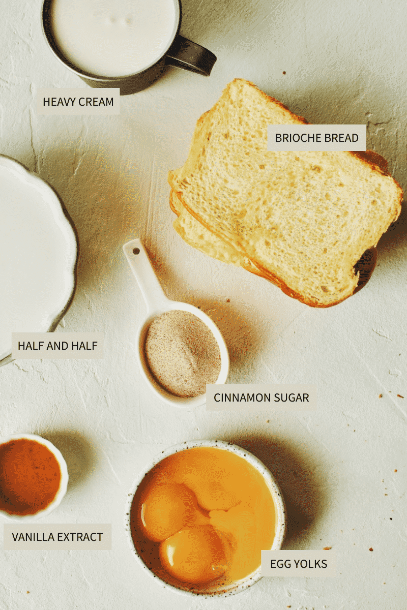 Ingredients needed to make French Toast