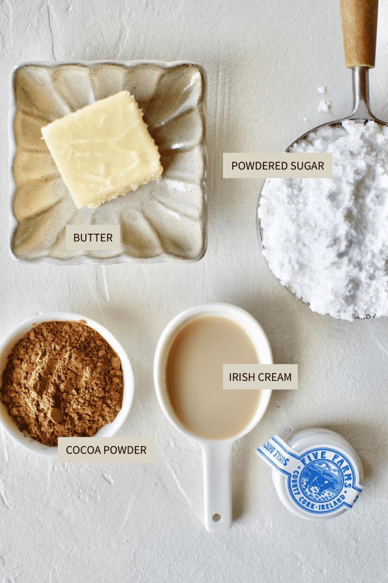 Ingredients needed to make Irish Cream Buttercream