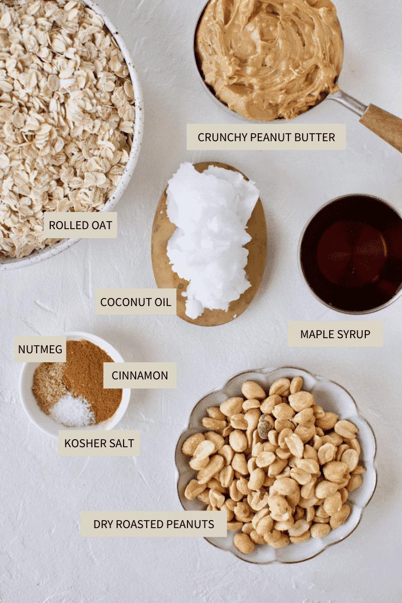 Ingredients needed to make Crunchy Peanut Butter Granola