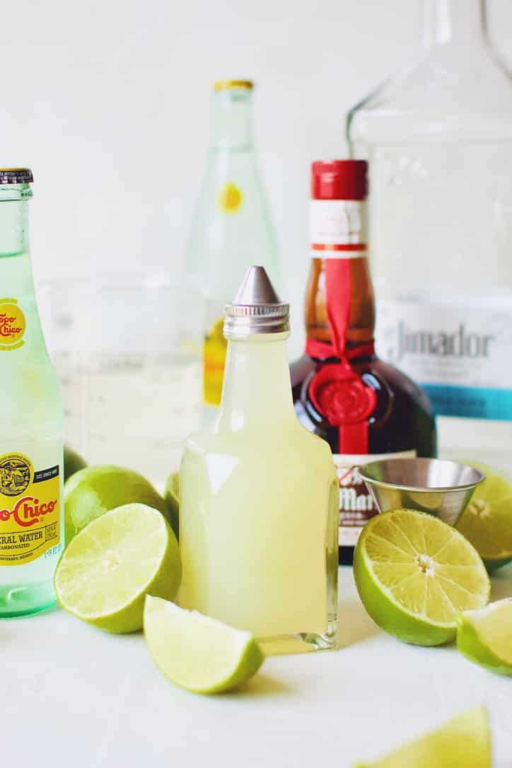 Ingredients needed to make a Topo Chico Margarita