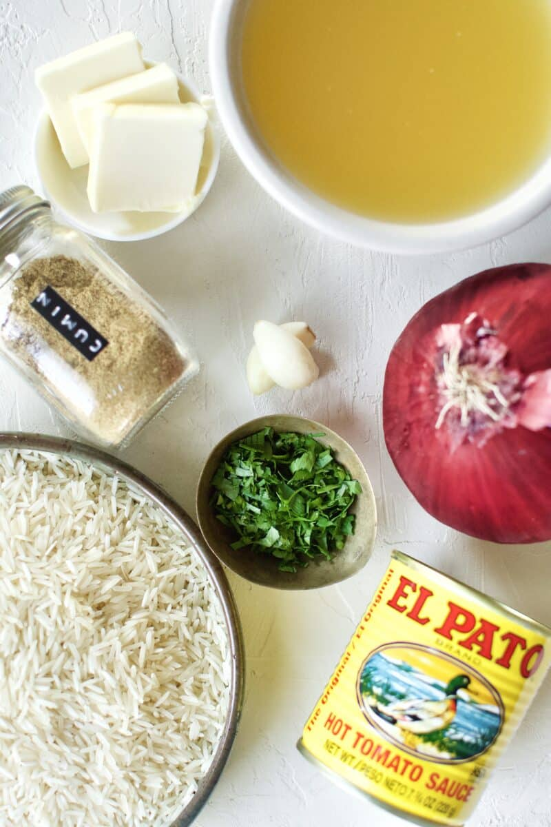 Ingredients needed to make Weta Rice (Mexican Rice)