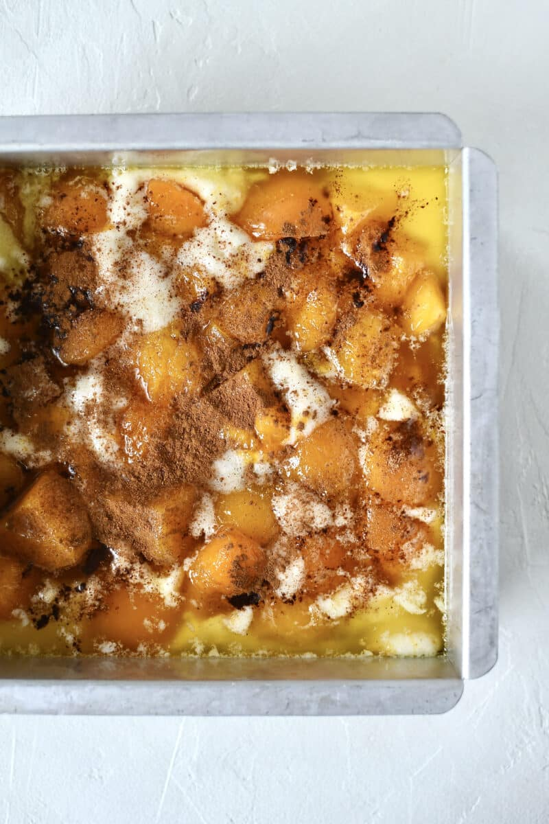 Fully prepared apricot cobbler, just before baking.