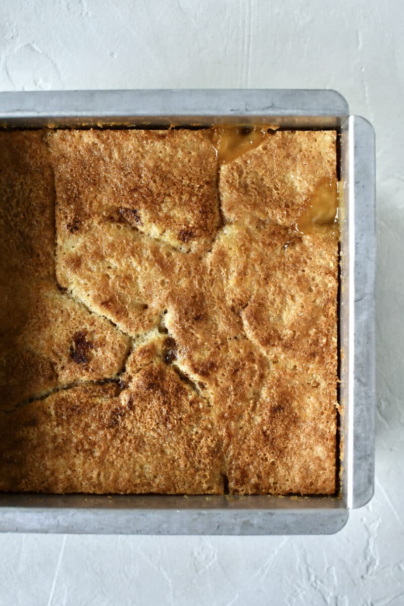 Apricot cobbler just out of the oven, fully baked.