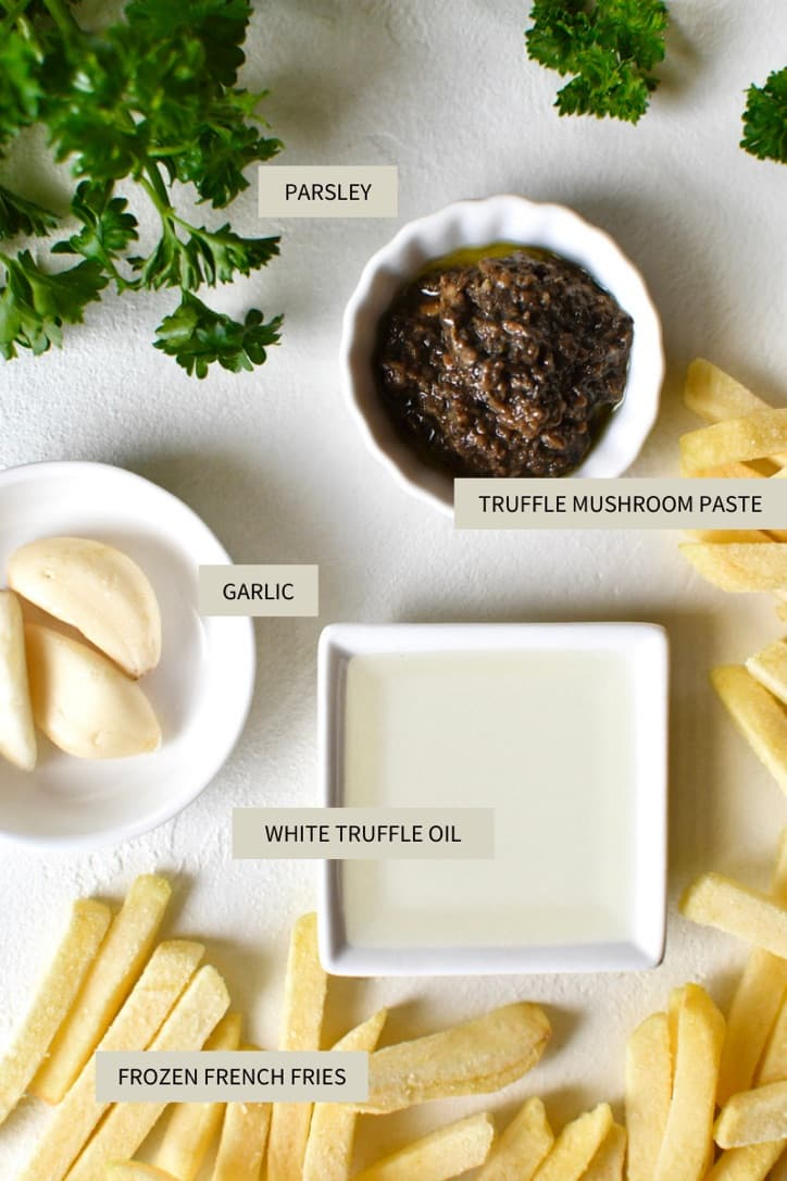 Ingredients needed to make Truffle French Fries.