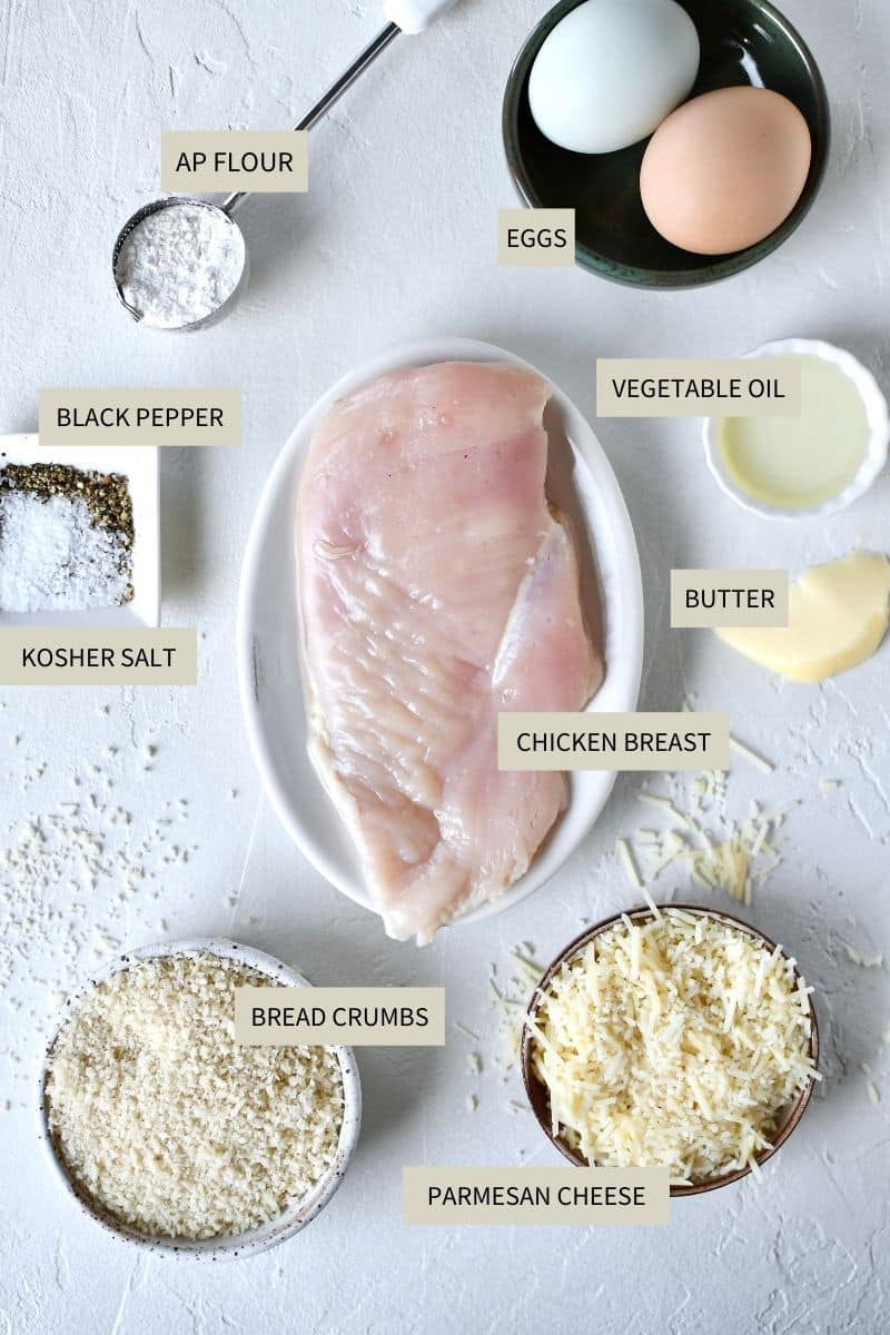 Ingredients needed to make Crispy Parmesan Chicken.