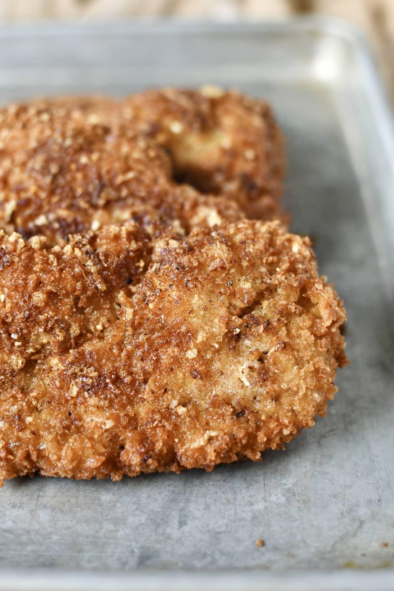Crispy Parmesan Chicken, after frying.