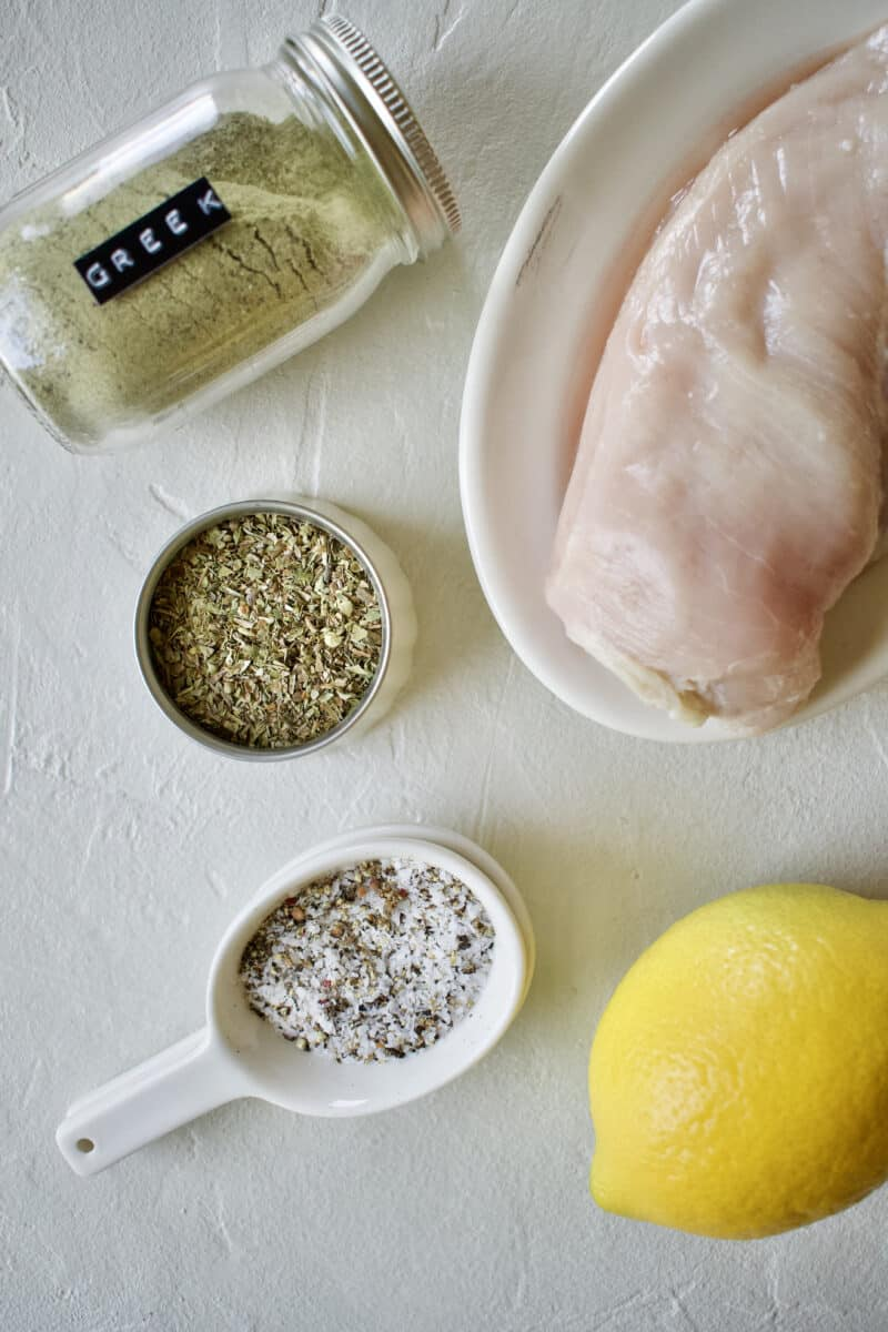 Ingredients needed to make Quick & Easy Greek Chicken.