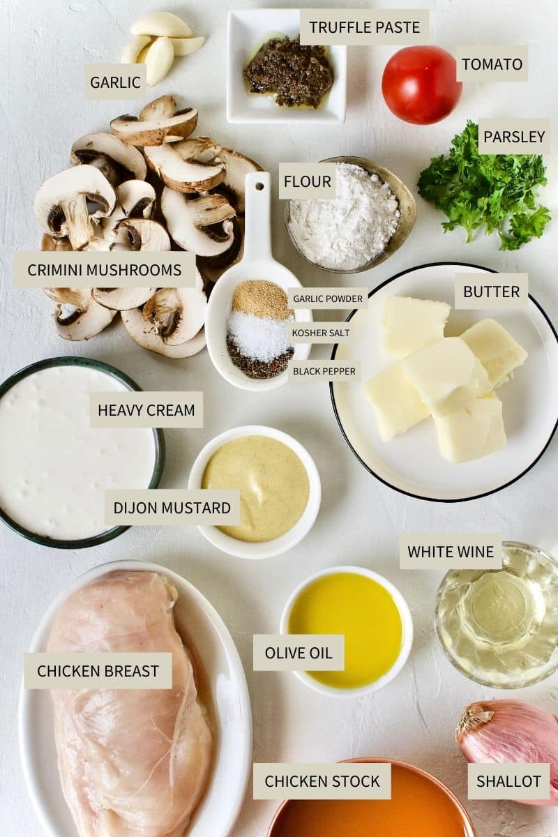 Ingredients needed to make Creamy Chicken and Mushrooms.