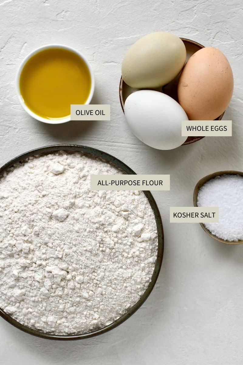 Ingredients needed to make Homemade Pasta Dough.