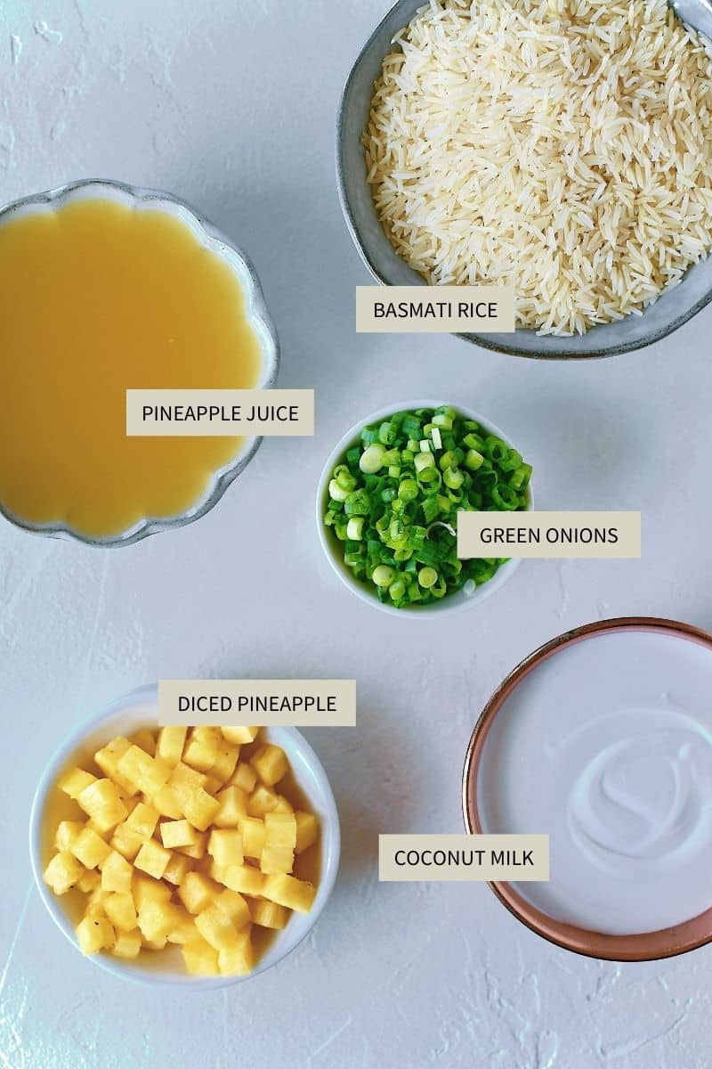 Ingredients needed to make Pineapple Coconut Rice.