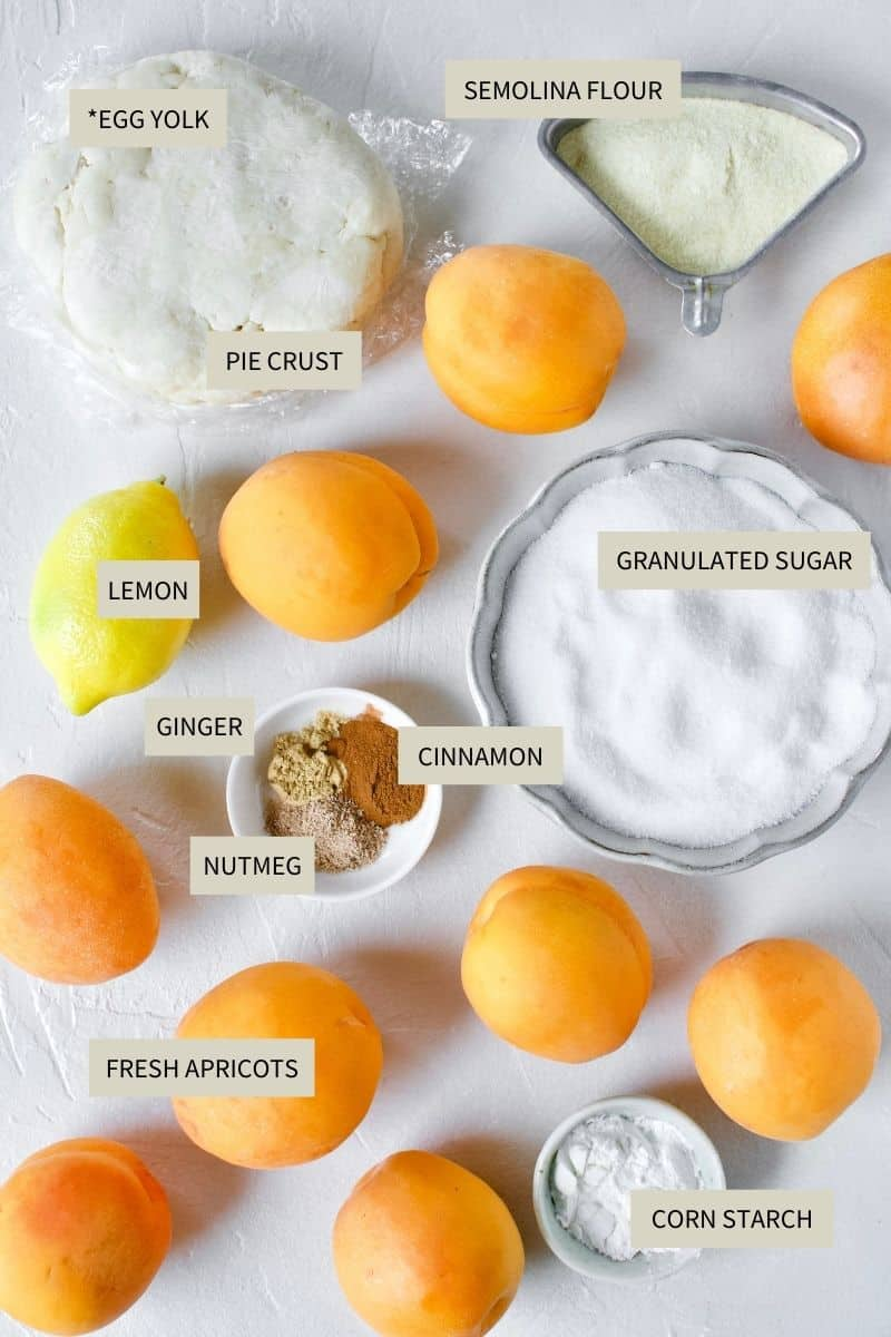 Ingredients needed to make Apricot Pie.
