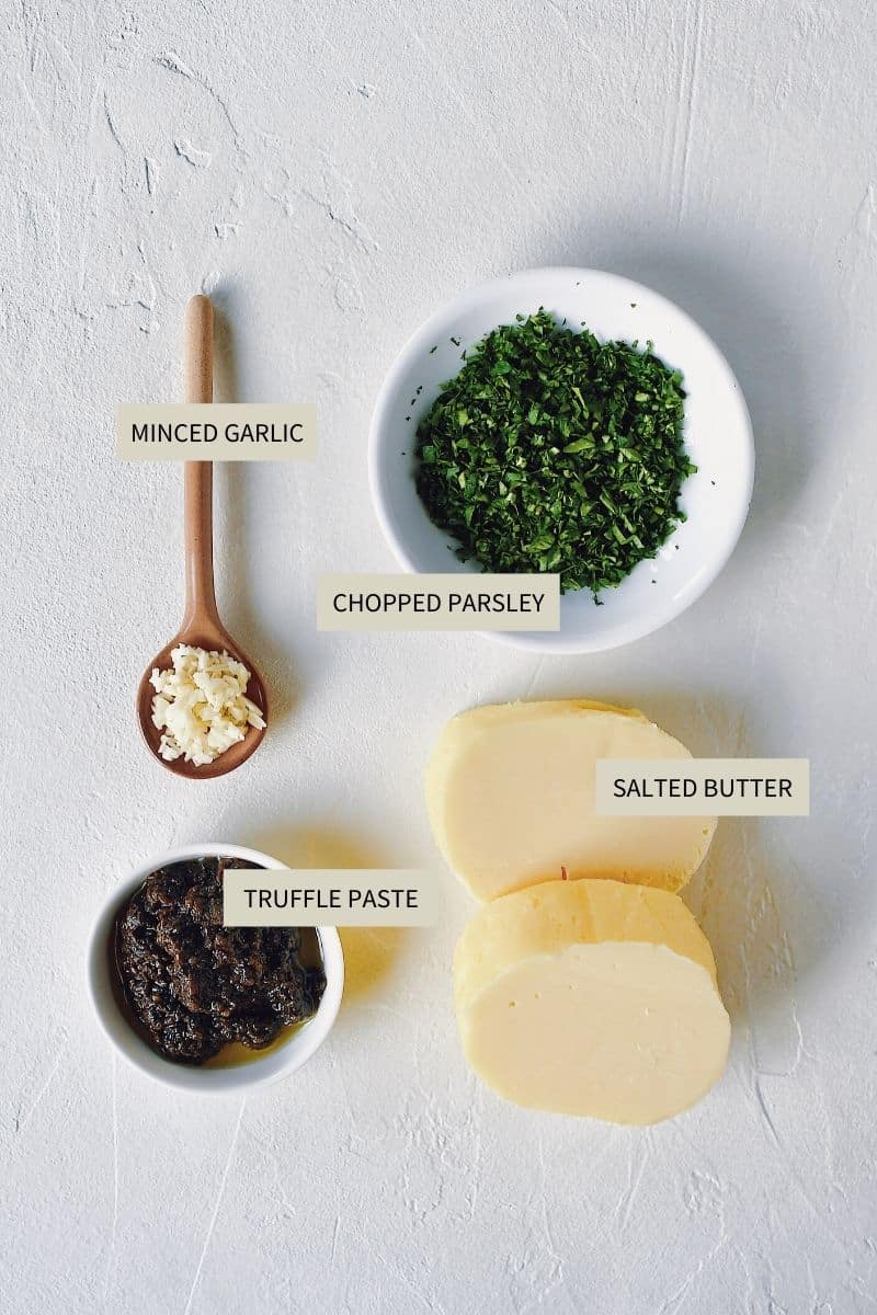 Ingredients needed to make Black Truffle Butter.