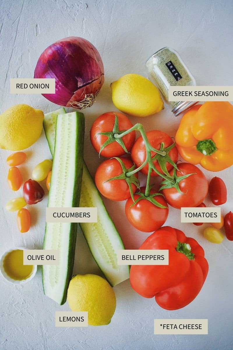 Ingredients needed to make Traditional Greek Salad.