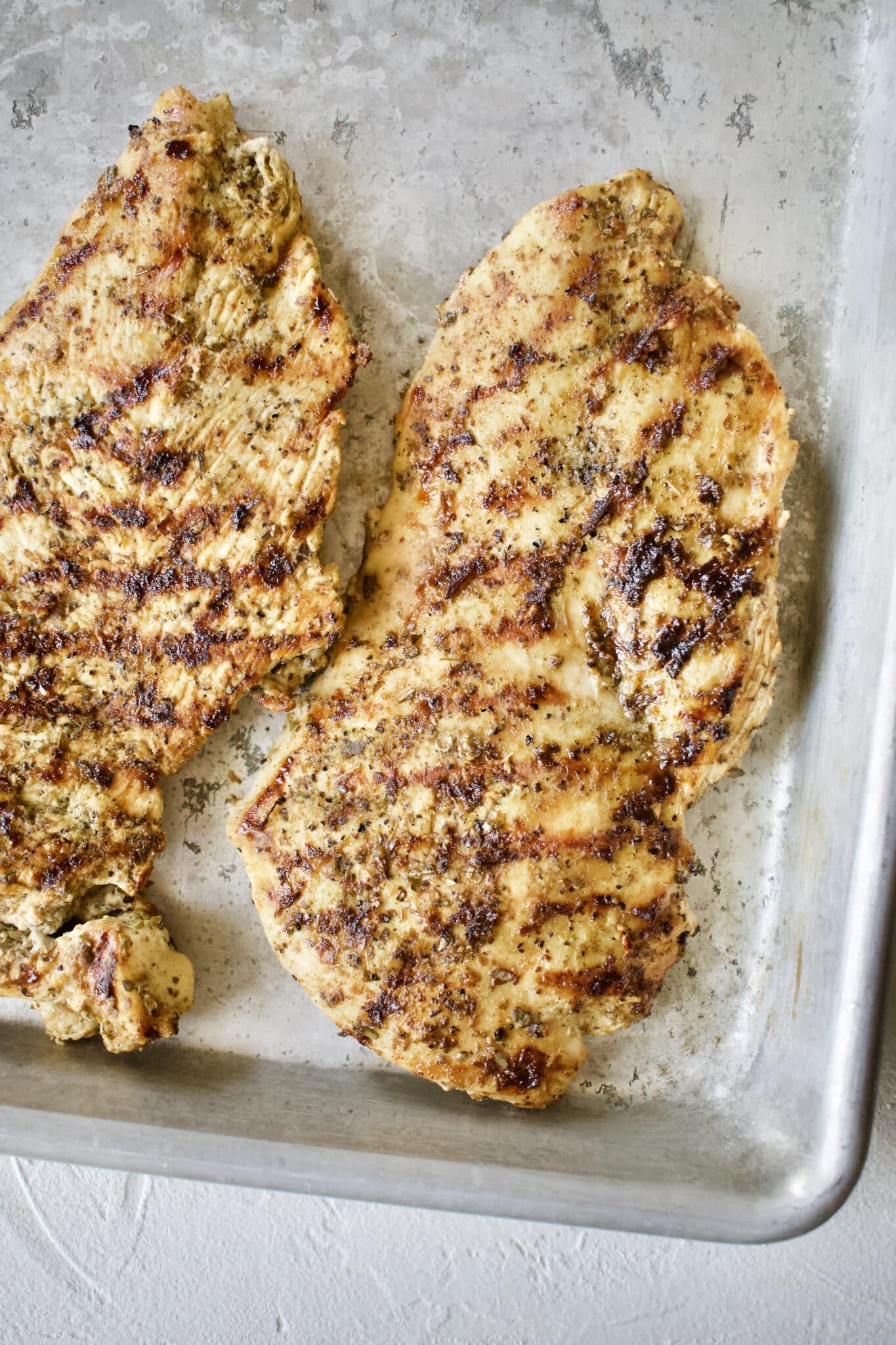 Quick Greek Chicken grilled using my Perfect Grilled Chicken method.