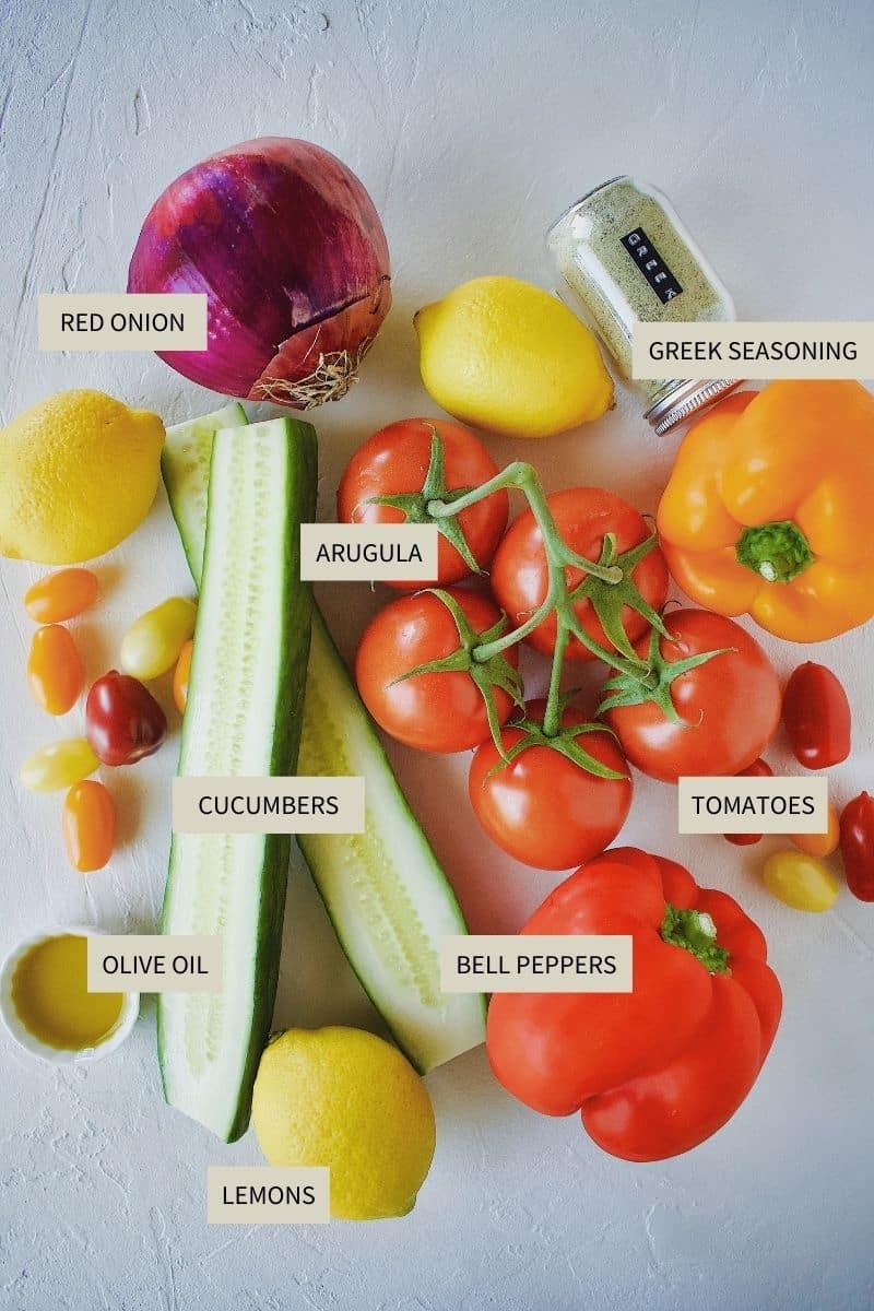 Ingredients needed to make Greek Pico