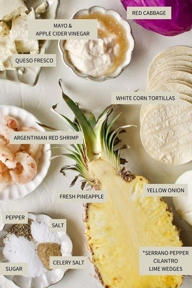 Ingredients needed to make Baja Shrimp Tacos.