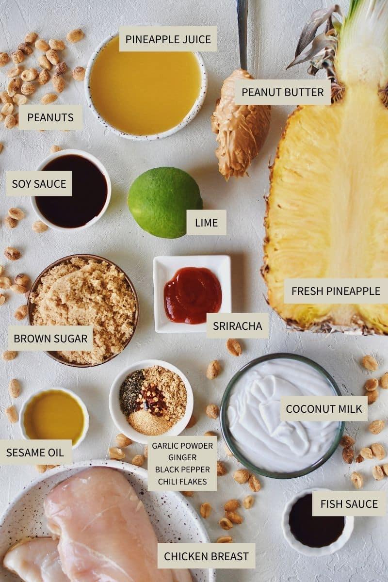 Ingredients needed to make Pineapple Peanut Chicken Skewers.