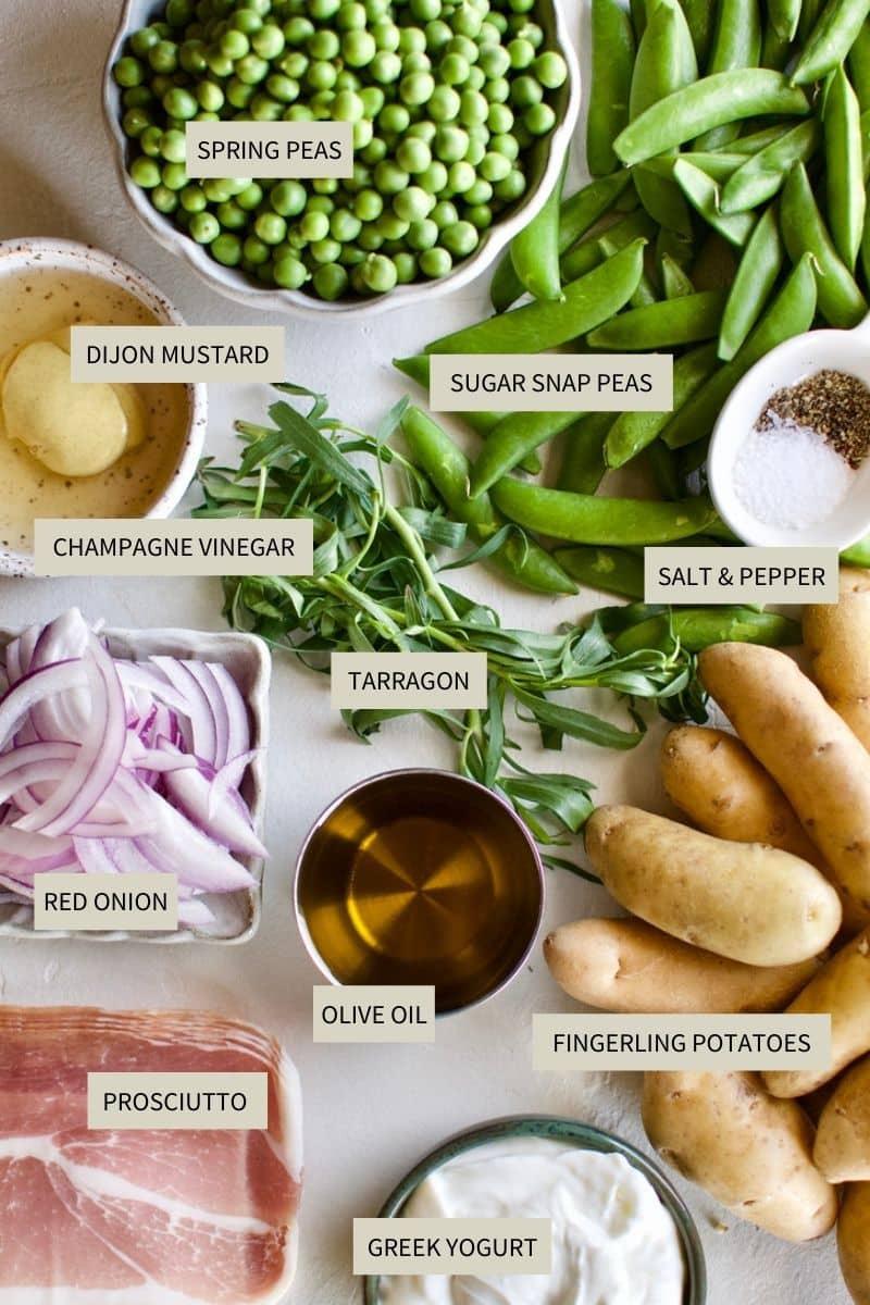 Ingredients needed to make Spring Potato Salad.