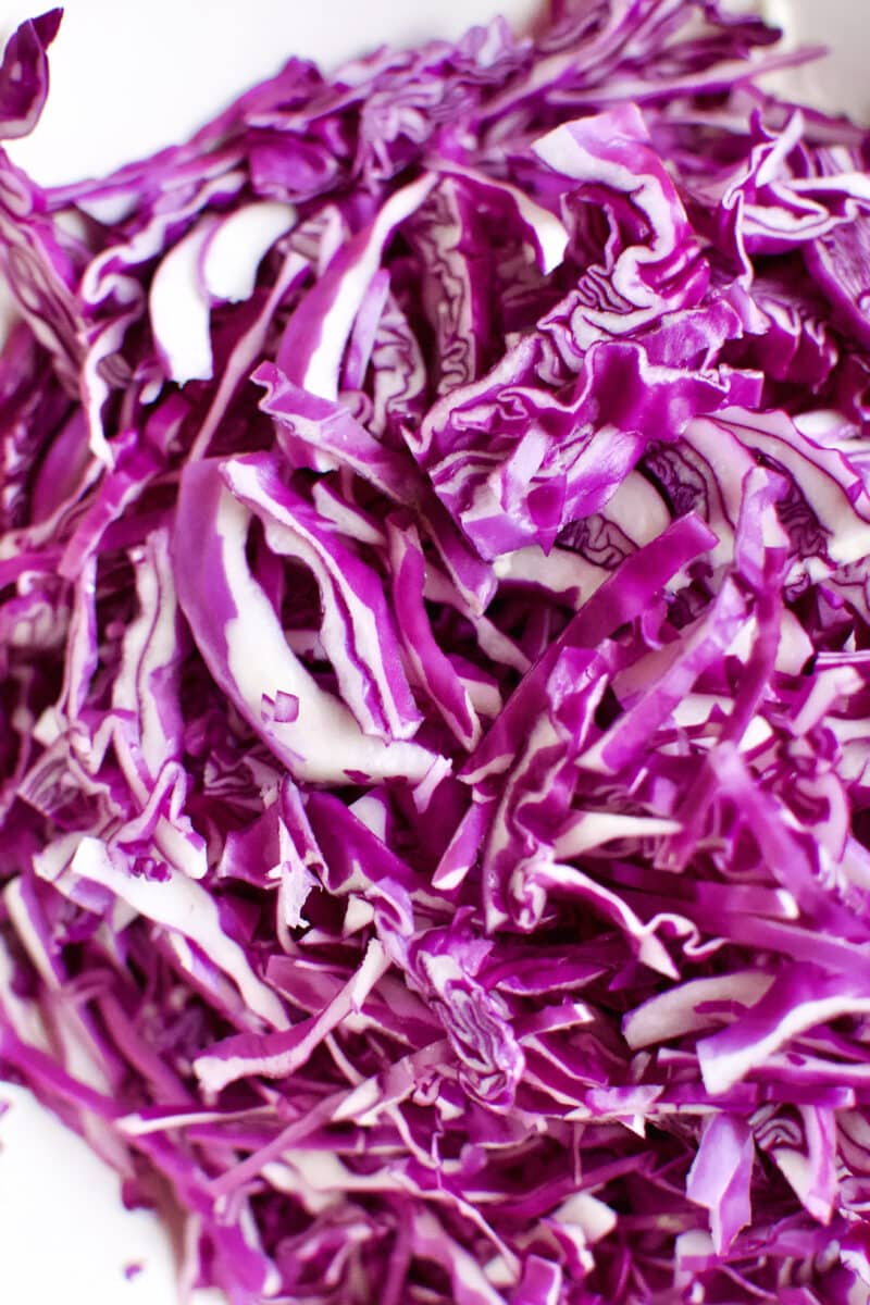 Shredded red cabbage.