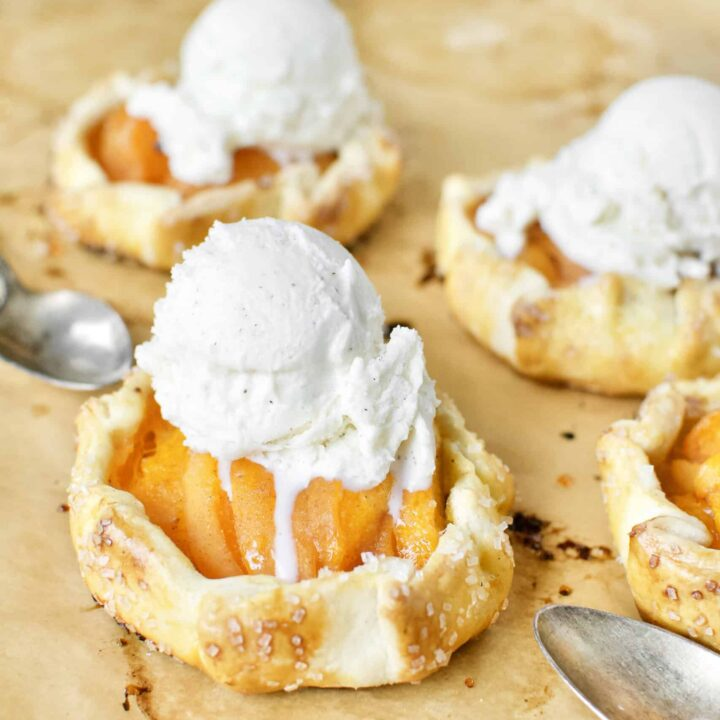 Apricot Pie fresh out of the oven, topped with vanilla ice cream.