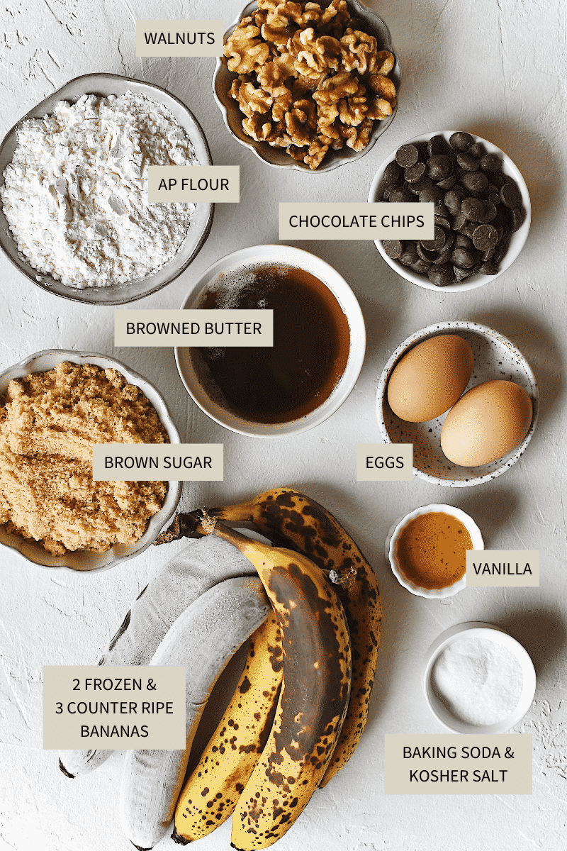 Ingredients needed to make Browned-Butter Banana Bread