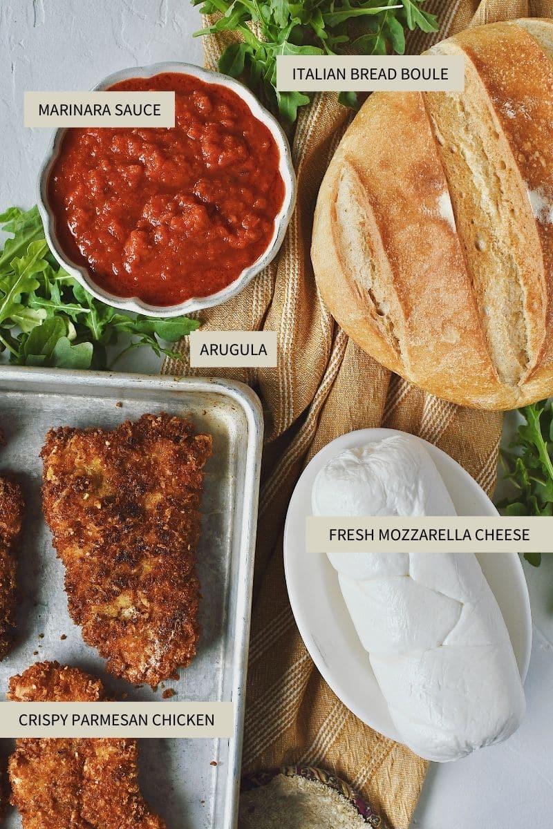 Ingredients needed to make Parmesan Chicken Sandwich.