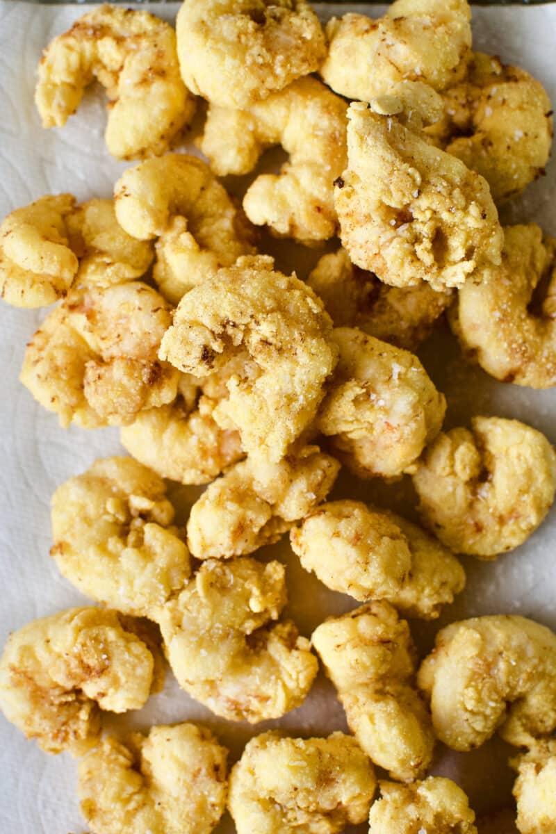 Freshly fried shrimp just out of the deep fryer.