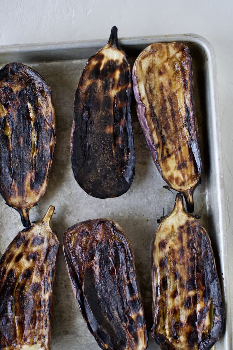 Grilled eggplant just off the grill.