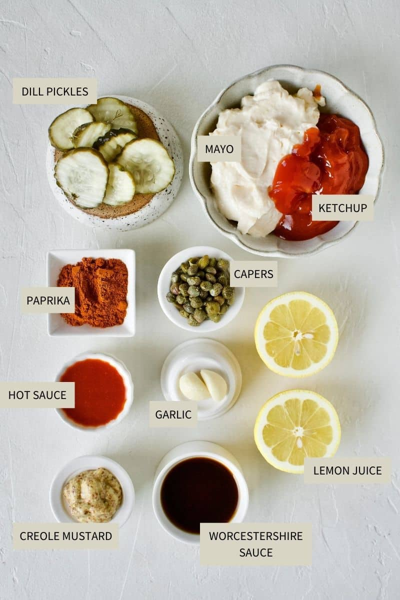 Ingredients needed to make Easy REmoulade Sauce.