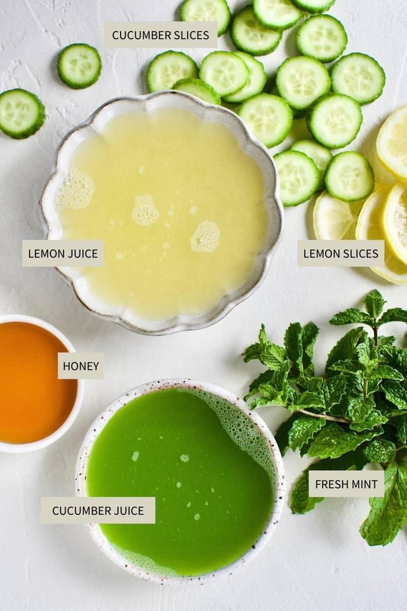Ingredients needed to make Cucumber Mint Lemonade.