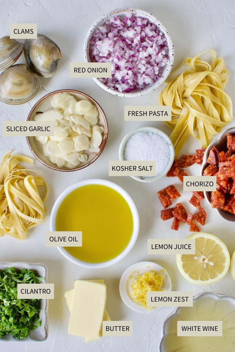 Ingredients needed to make Linguine with Clam Sauce.