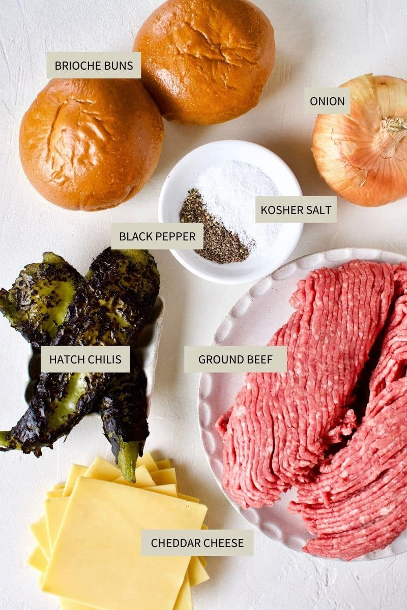 Ingredients needed to make Green Chili Cheeseburgers.