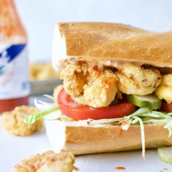 Fully assembled Shrimp Po'boy Sandwich.