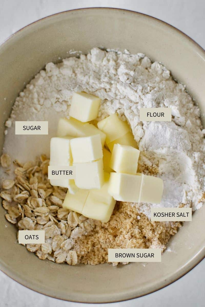 Ingredients needed to make crumble topping for Caramel Apple Crisp Cheesecake.