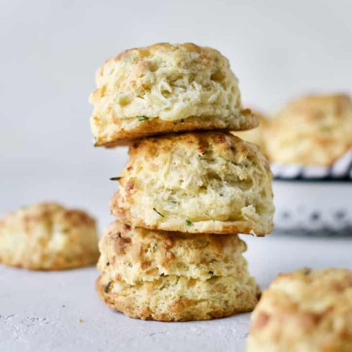 Finished biscuits stacked up showing all the flaky layers.