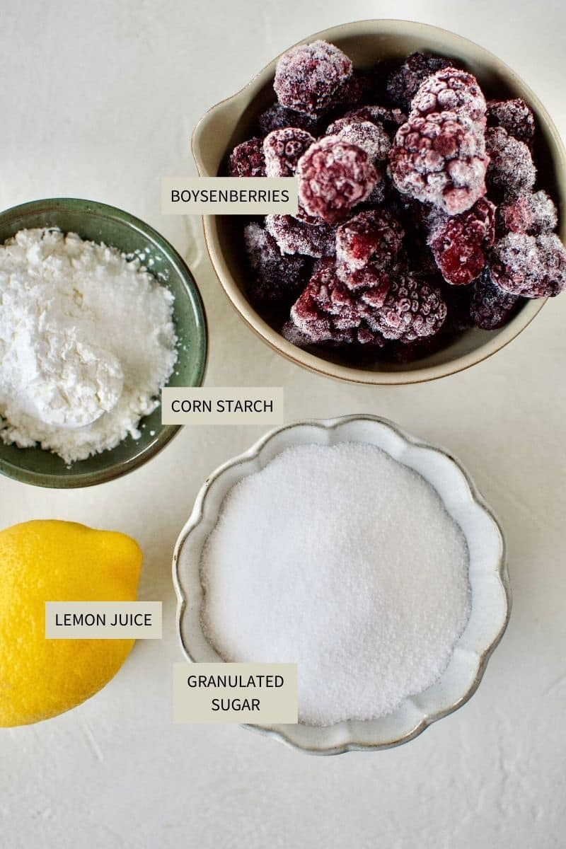 Ingredients needed to make Boysenberry and Dark Chocolate Hand Pies.