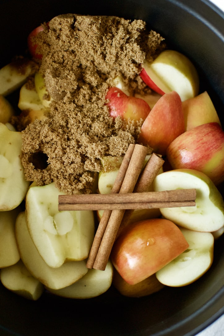 All ingredients for Homemade Apple Butter place in the pot.